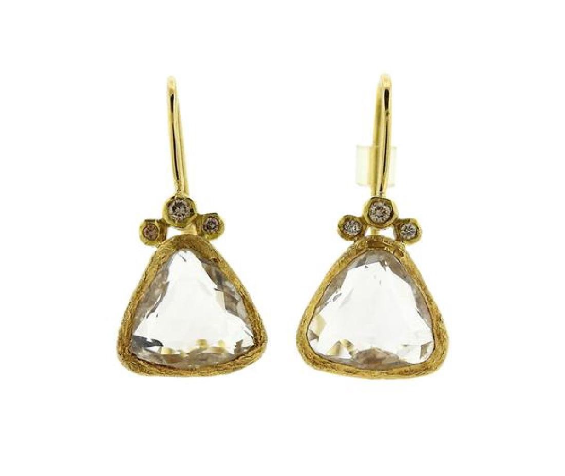 H Stern 18k Gold Crystal Diamond Earrings