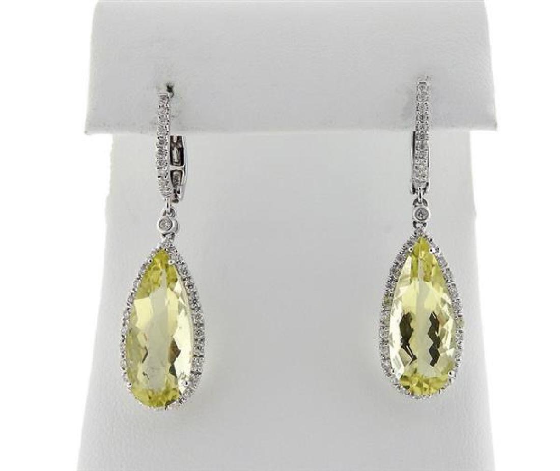 18k Gold Lemon Quartz Diamond Drop Earrings