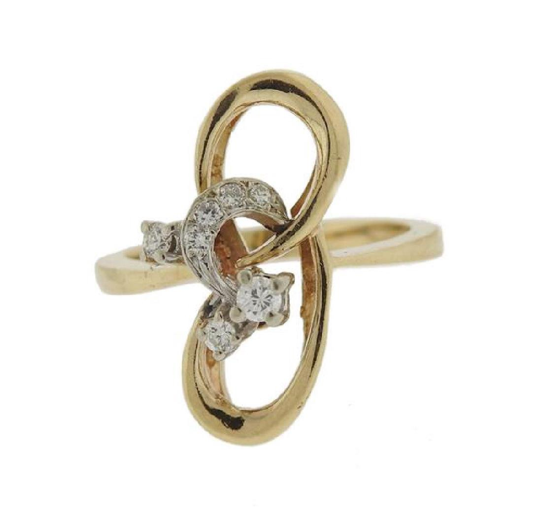 14K Gold Diamond Ribbon Ring