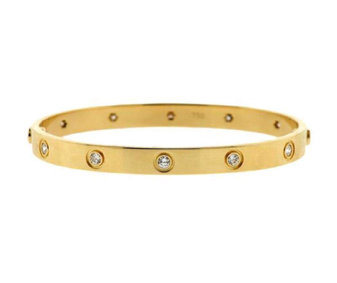 Cartier Love 18k Yellow Gold Diamond Bangle Size 18
