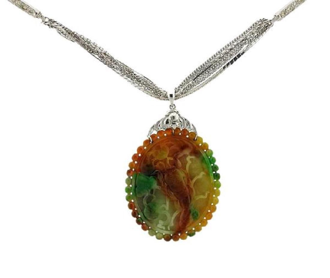 18k Gold Diamond Carved Jadeite Jade Necklace
