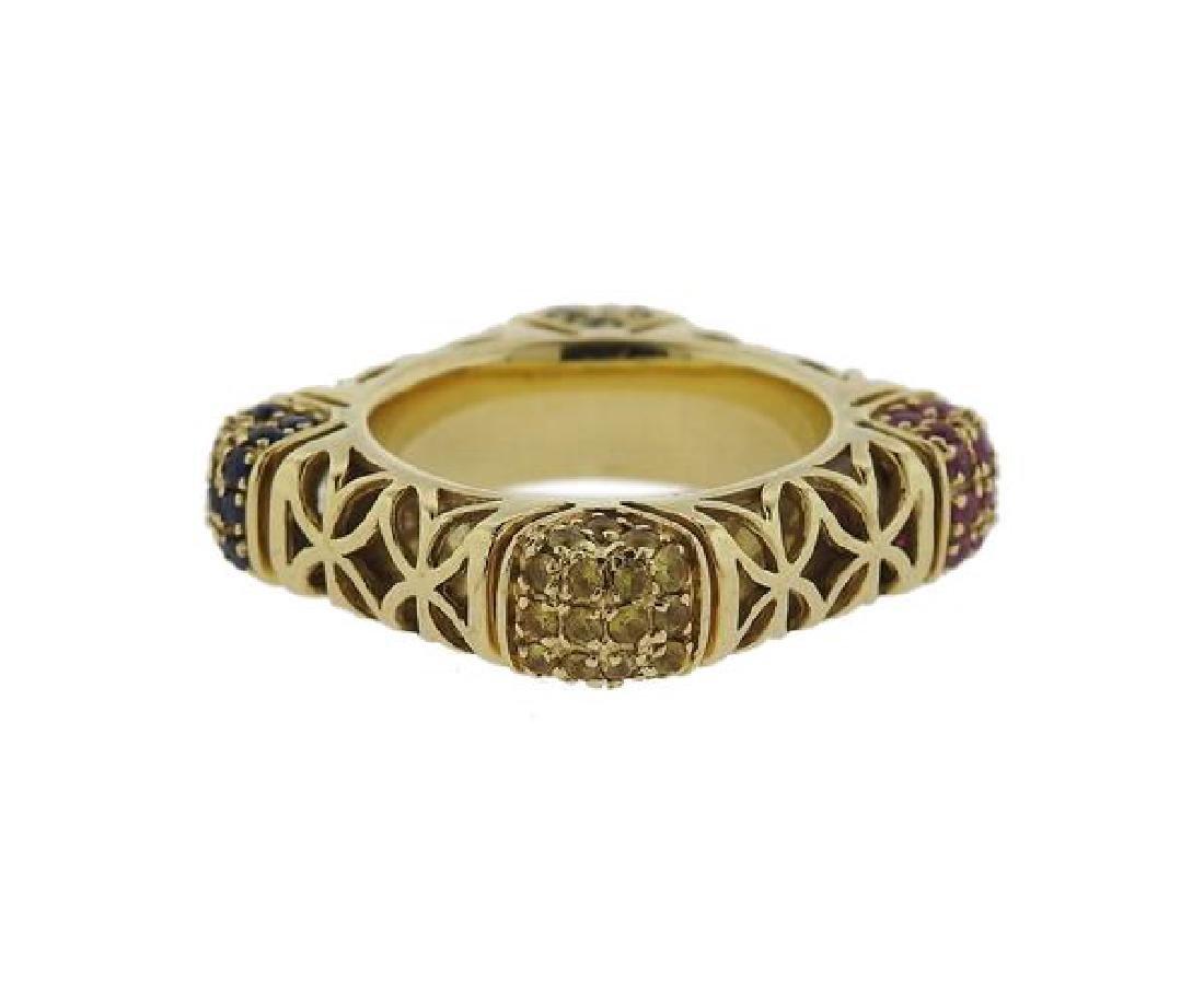 14k Gold Multi Color Stone Square Ring