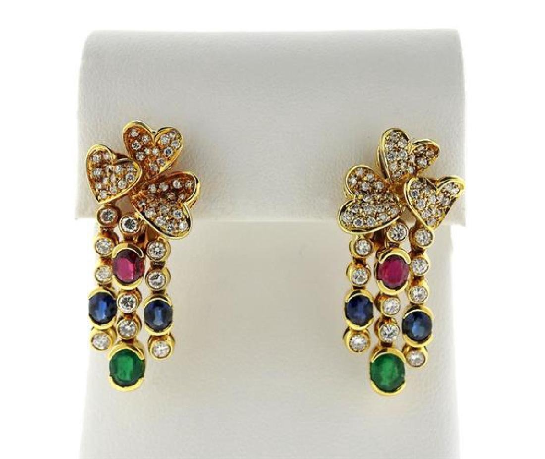 18k Gold Diamond Color Stone Drop Earrings