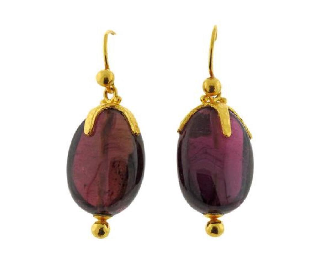 Gurhan 24K Gold Purple Gemstone Earrings