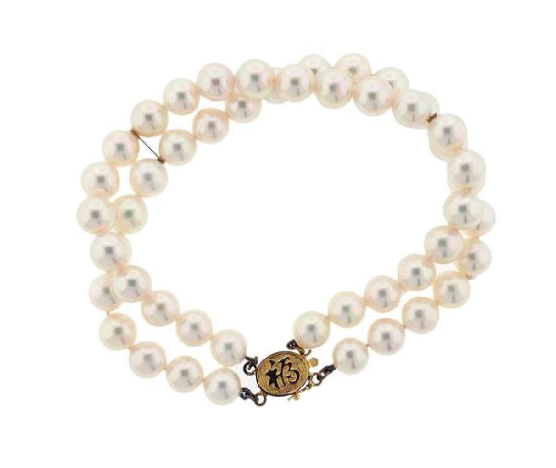 14K Gold Two Strand Pearl Bracelet