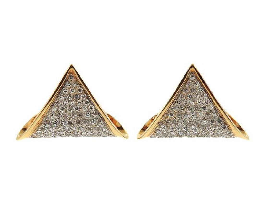 14K Gold Diamond Triangle Earrings