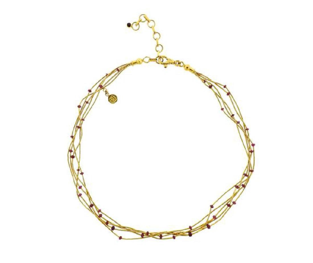 Gurhan 24k Gold Ruby Multi Strand Necklace