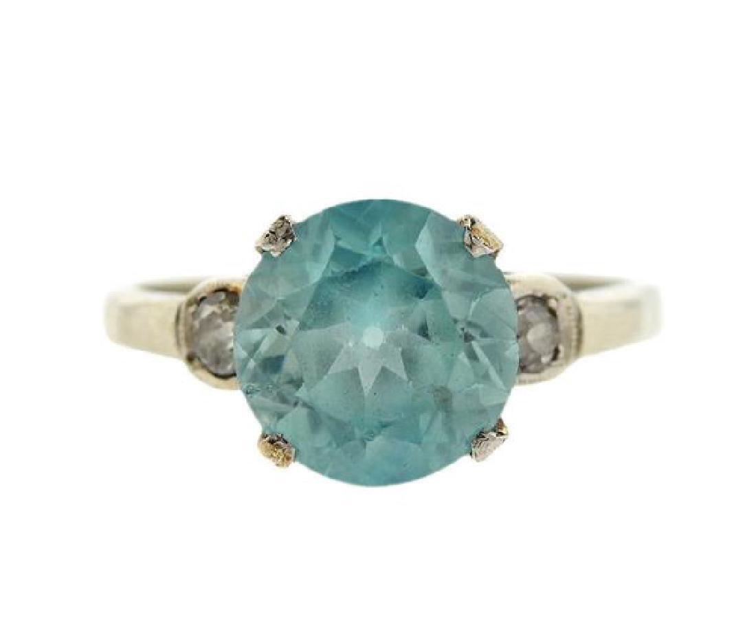 14K Gold Diamond Zircon Ring