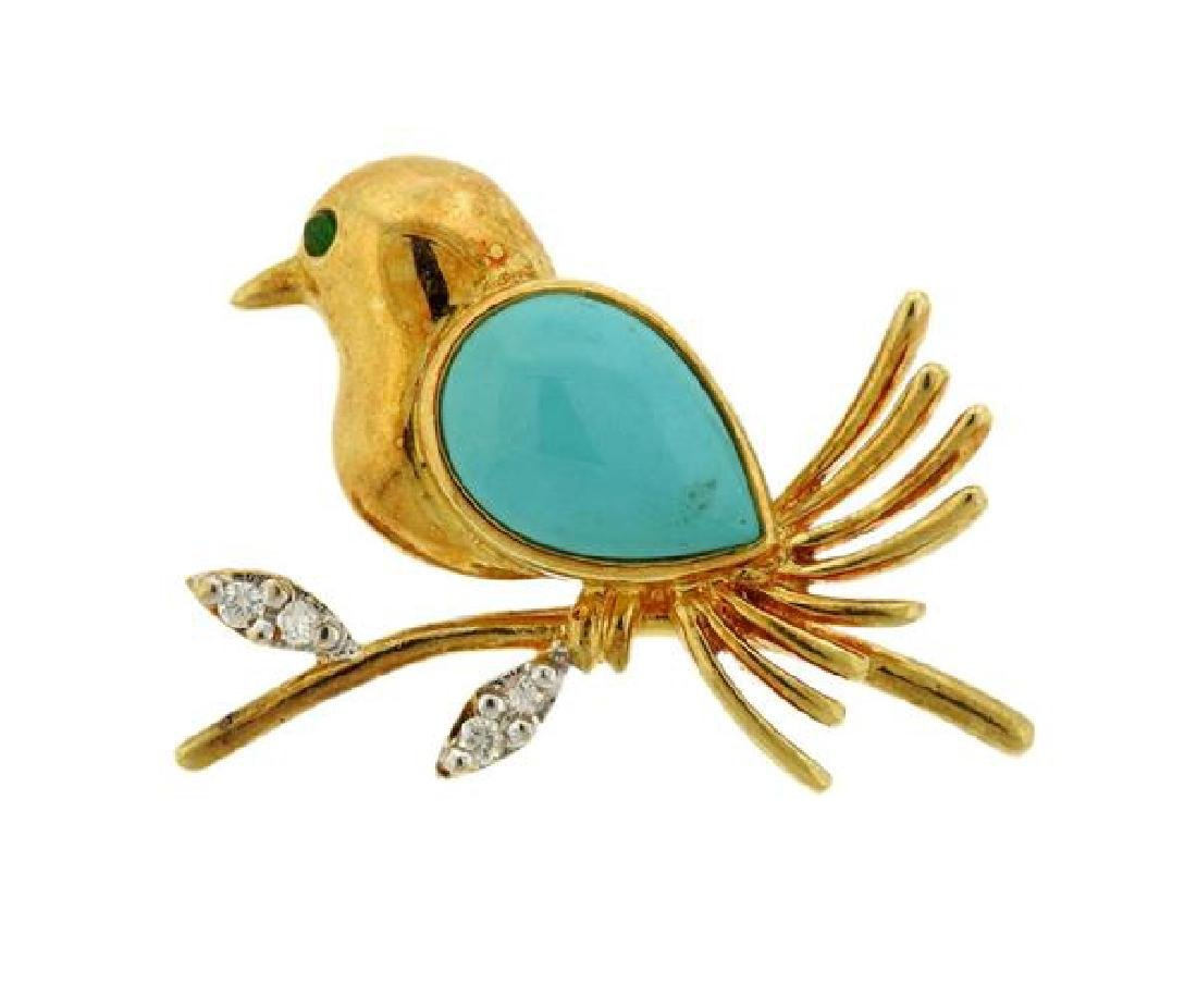 18k Gold Diamond Turquoise Bird Brooch Pin