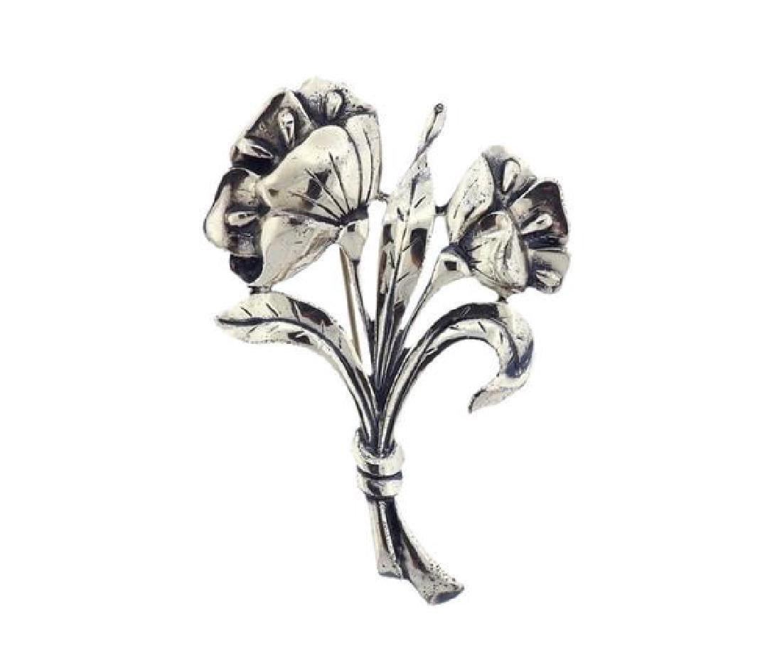 Danecraft Sterling Flower Bouquet Brooch