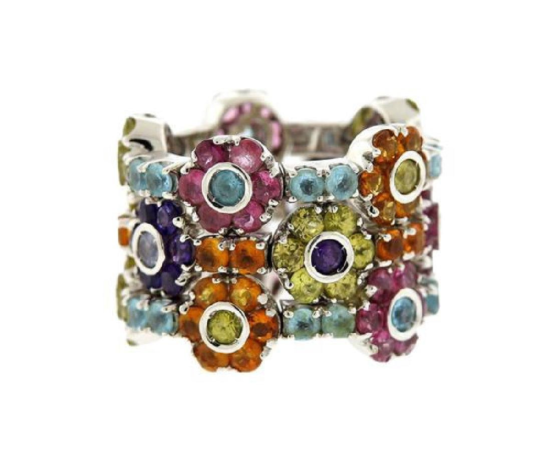 18k Gold Multi Color Stone Wide Band Ring