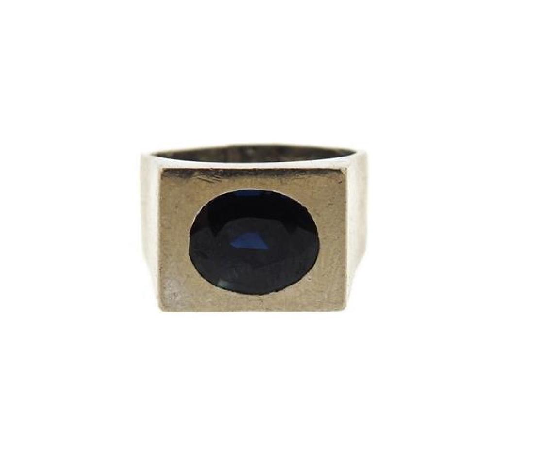 18K Gold Blue Stone Ring
