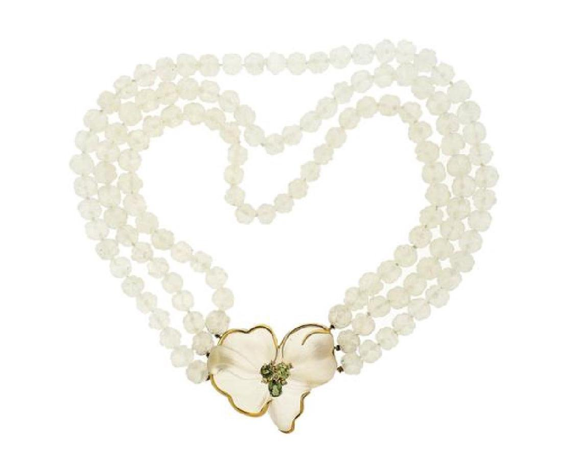 18K Gold Diamond Gemstone Flower Necklace