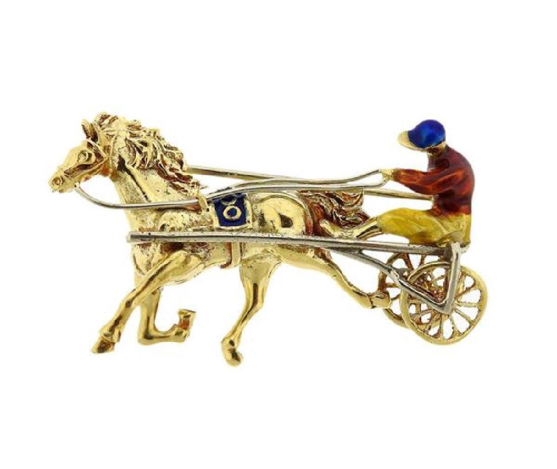 Italian 18K Gold Enamel Horse Racer Brooch