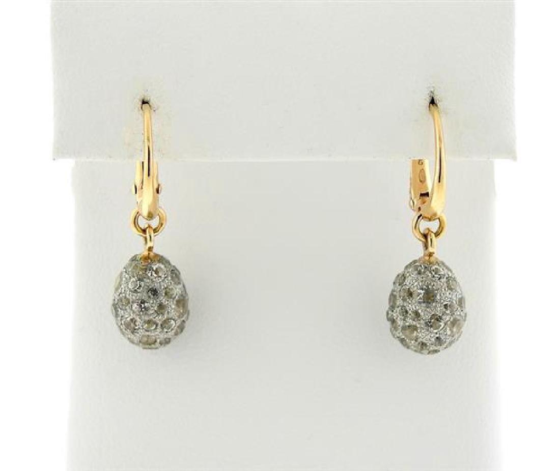 Pomellato Tabou 18K Gold Silver White Topaz Earrings