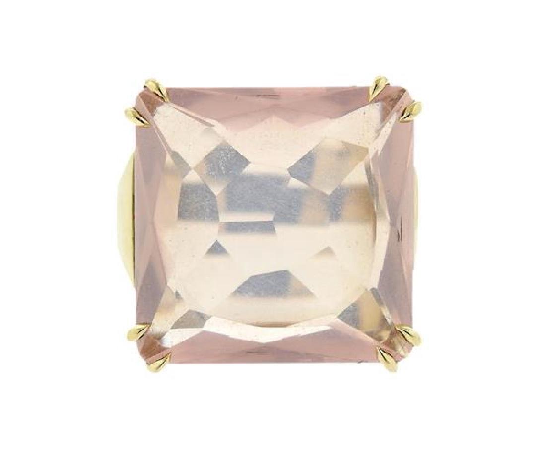 H. Stern 18K Gold Diamond Rose Quartz Cobblestones Ring