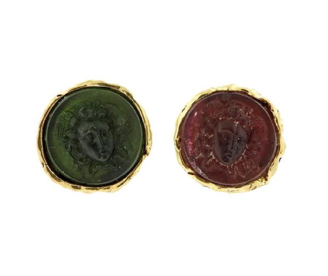 14k Gold Color Glass Cameo Large Cufflinks