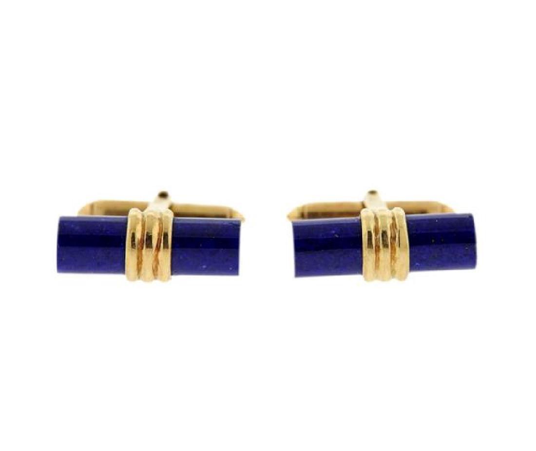 Mid Century 14k Gold Lapis Cufflinks