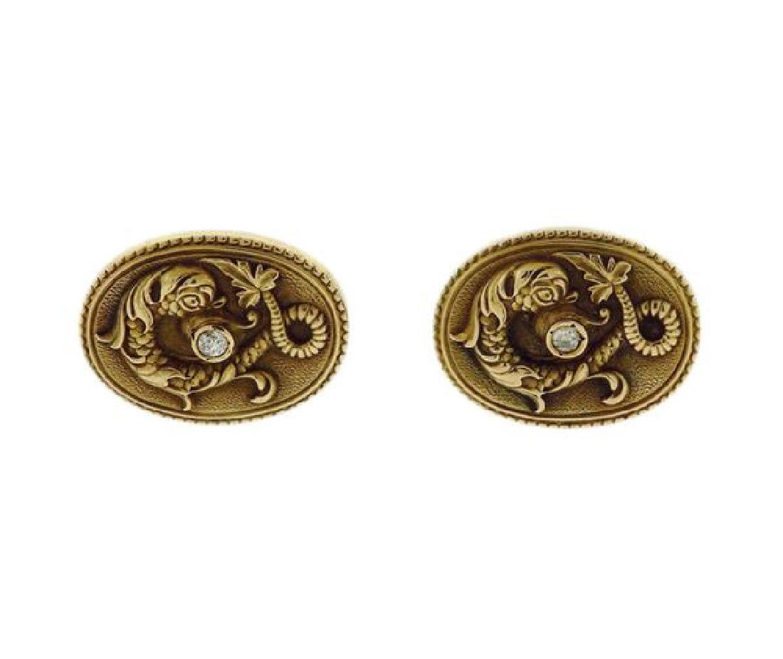Antique Art Nouveau 14k Gold Diamond Cufflinks