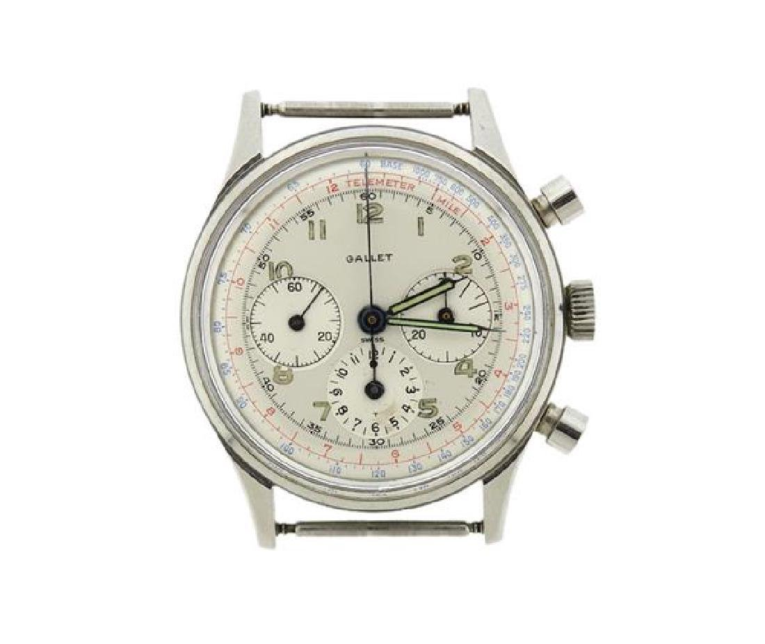 Vintage Gallet Stainless Steel Chronograph Watch
