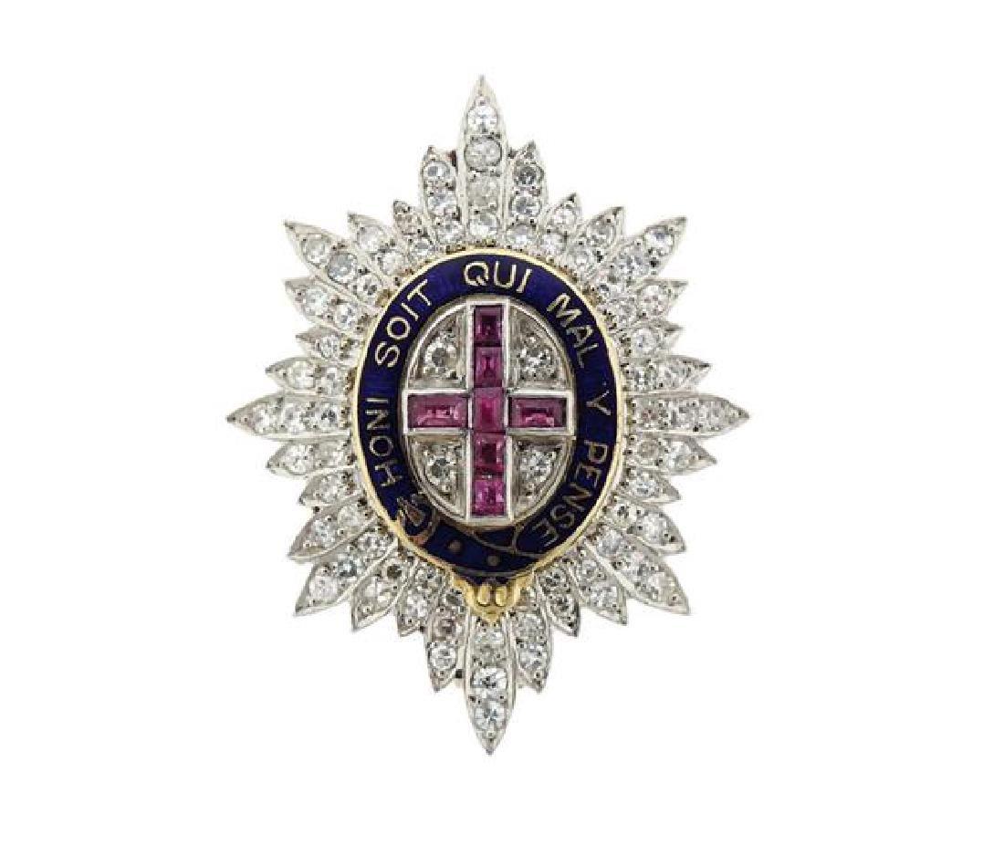 English Platinum Diamond  Order of the Garter Pin