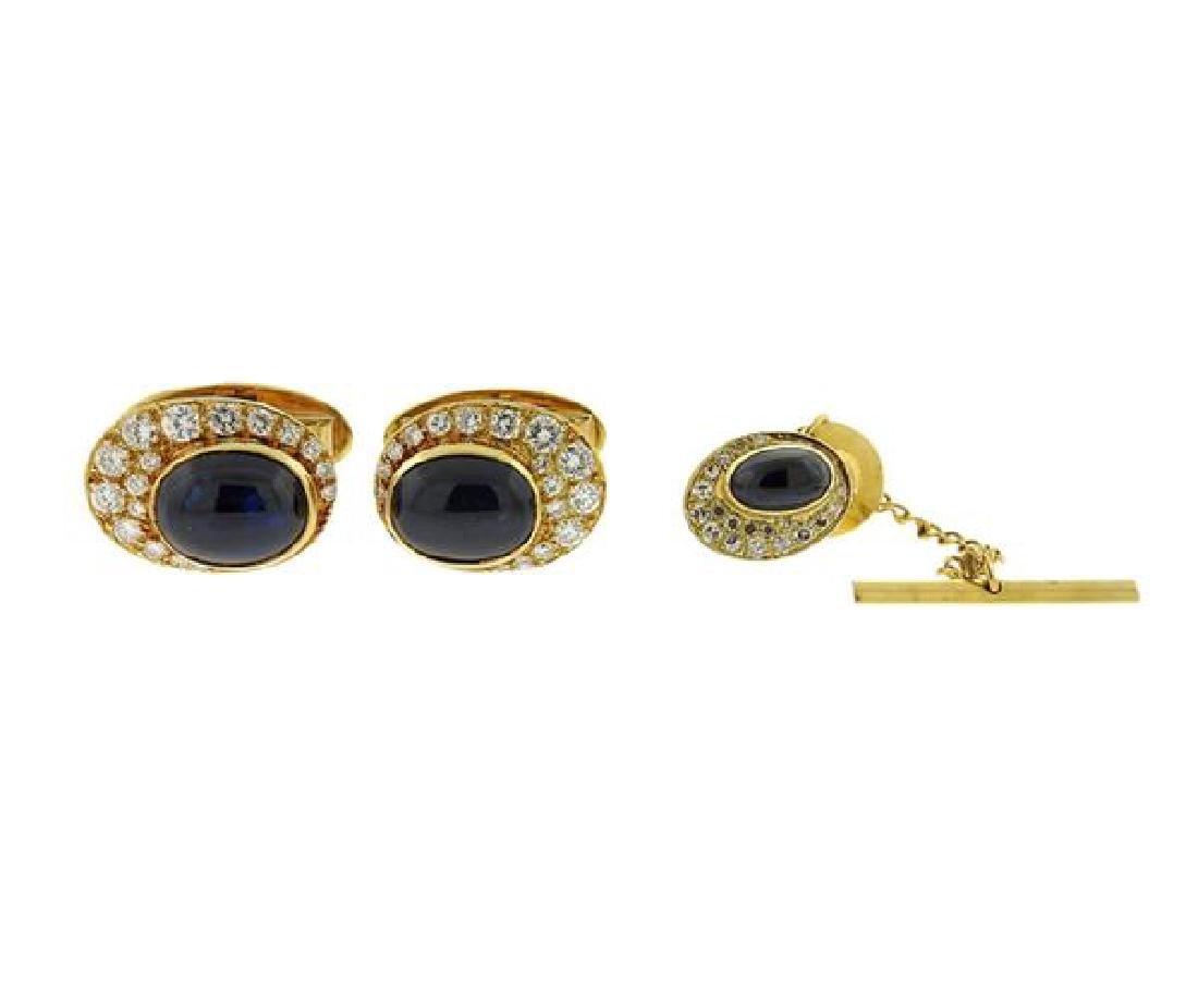 Erwin Pearl 18K Gold  Diamond Sapphire Cufflinks Tie