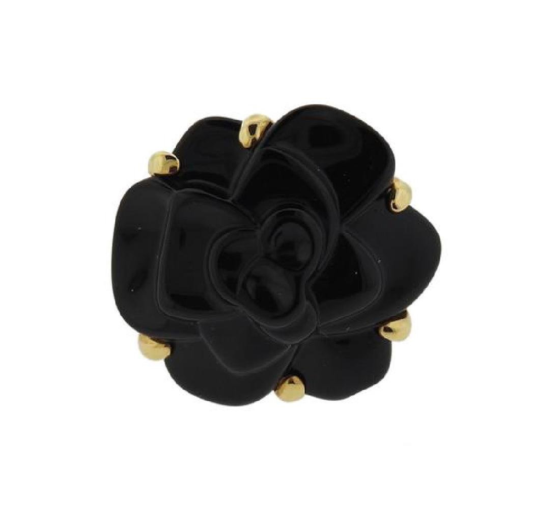 Chanel Camelia 18k Gold Onyx Cocktail Ring