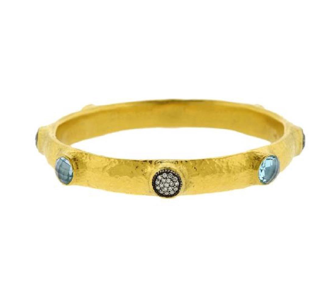 Gurhan 24k Gold Diamond Gemstone Bangle Bracelet