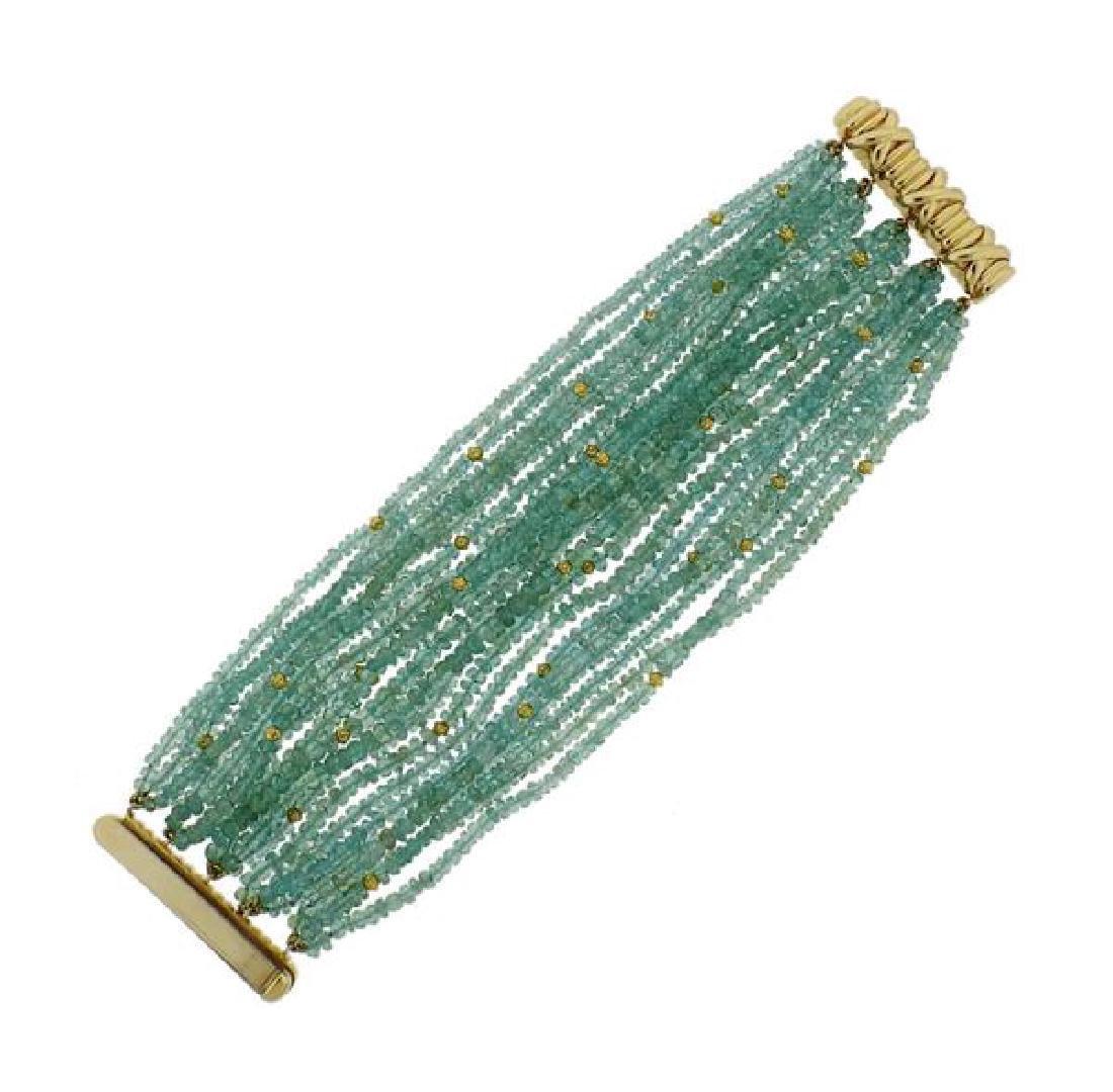 Verdura 18k Gold Teal Gemstone Bead Bracelet