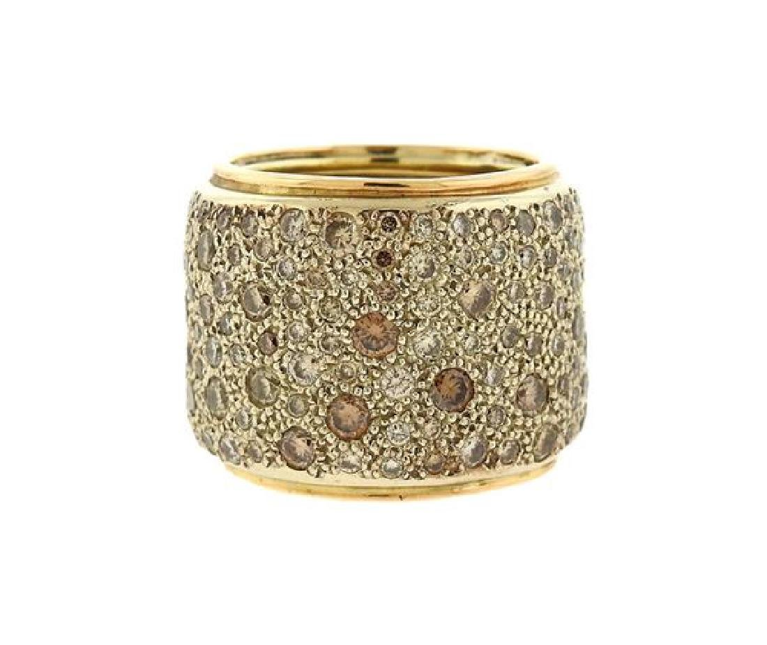 Pomellato Sabia 18K Gold Diamond Wide Band Ring