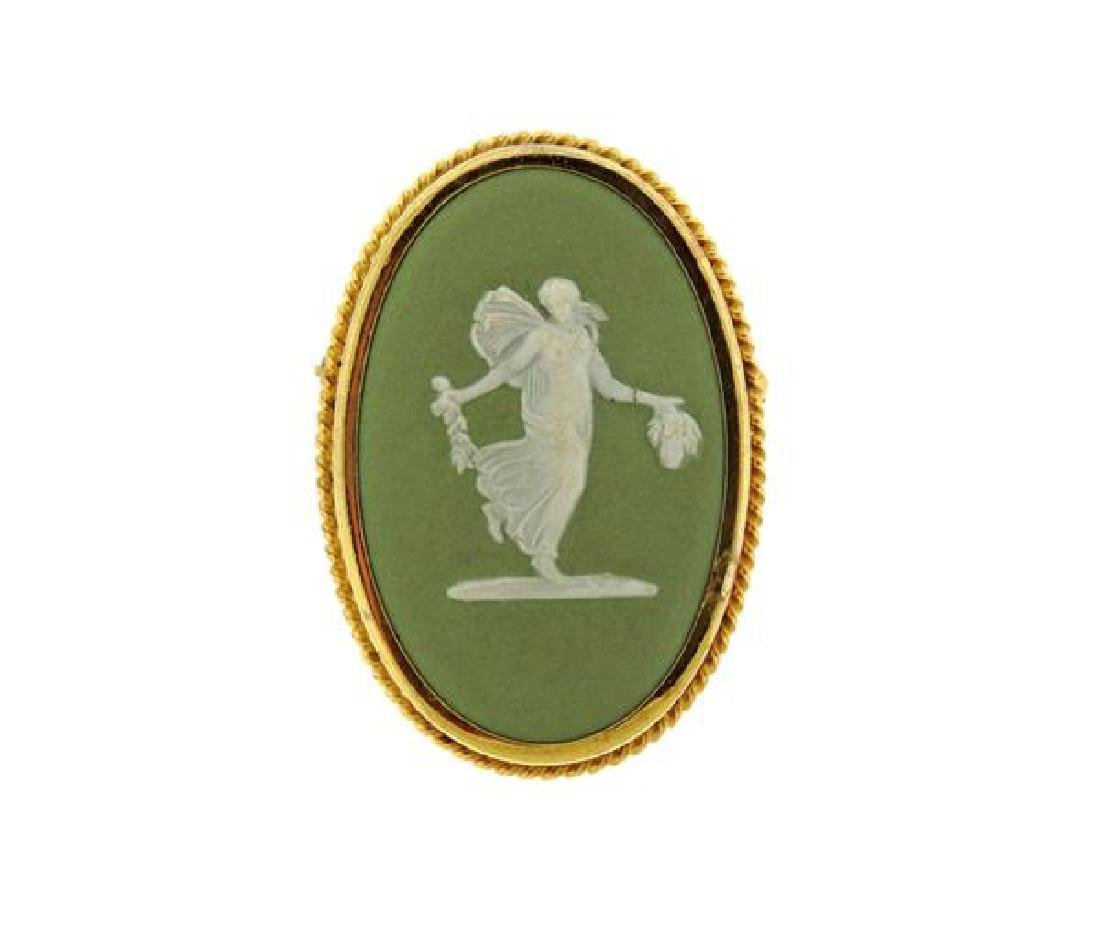 Wedgwood English  Gold Filled Cameo Flora Brooch