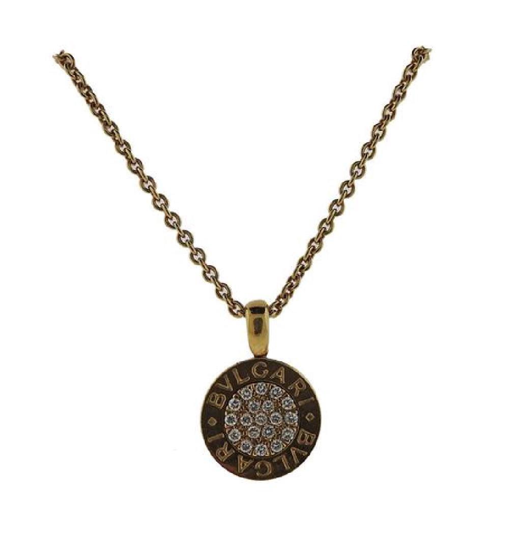 Bulgari Bvlgari 18K Gold Diamond Pendant Necklace