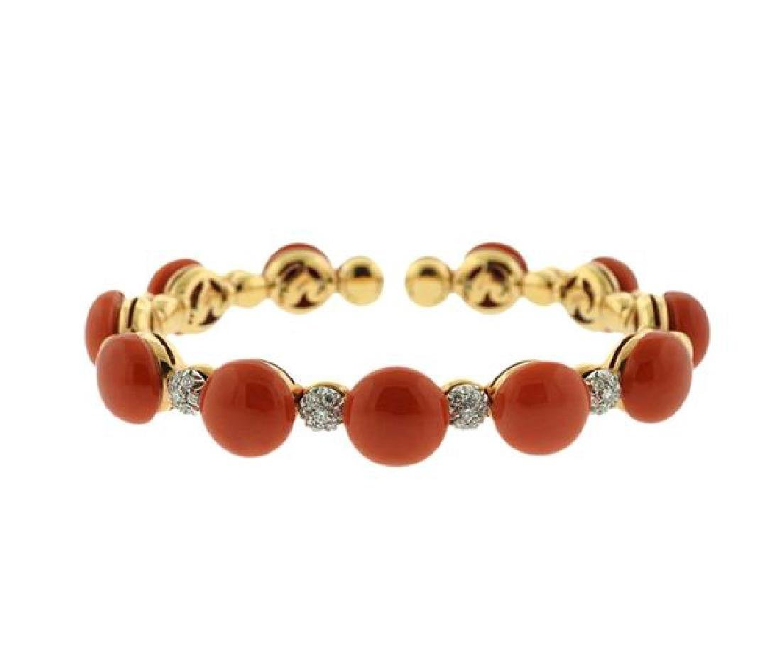 Chantecler Capri 18k Gold Coral Diamond Bracelet