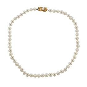 Mikimoto 18k Gold 7.5mm To 8mm Pearl Diamond Necklace