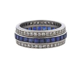 Cartier Platinum Diamond Sapphire Band Ring