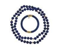 14K Gold Lapis Necklace Bangle Bracelet Set