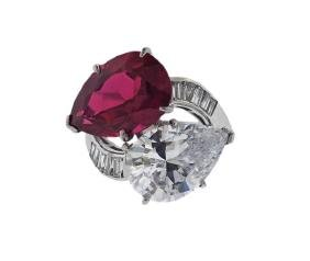 Platinum Diamond Red Clear Stone Bypass Ring