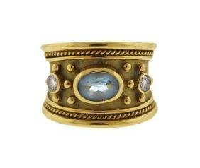 Elizabeth Gage 18k Gold Diamond Blue Stone Ring