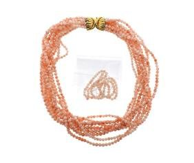 Trio 18k Gold Coral Multi Strand Necklace