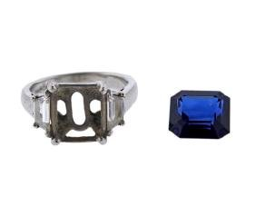 Agl Platinum Diamond 5.35ct Sapphire Ring