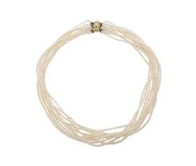 Mikimoto 14k Gold Pearl 9 Strand Necklace