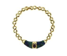 David Webb 18k Gold Platinum Ruby Azurmalachite Choker