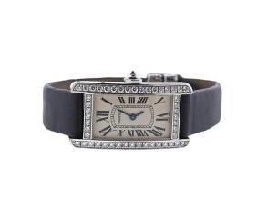 Cartier Tank Americaine 18k Gold Diamond Watch