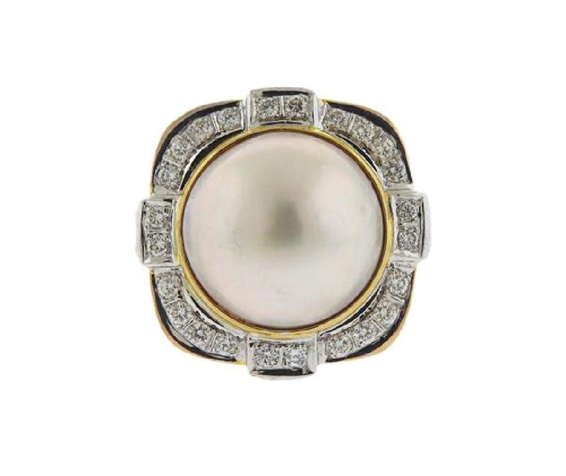 Large 14K Gold Diamond Pearl Cocktail Ring