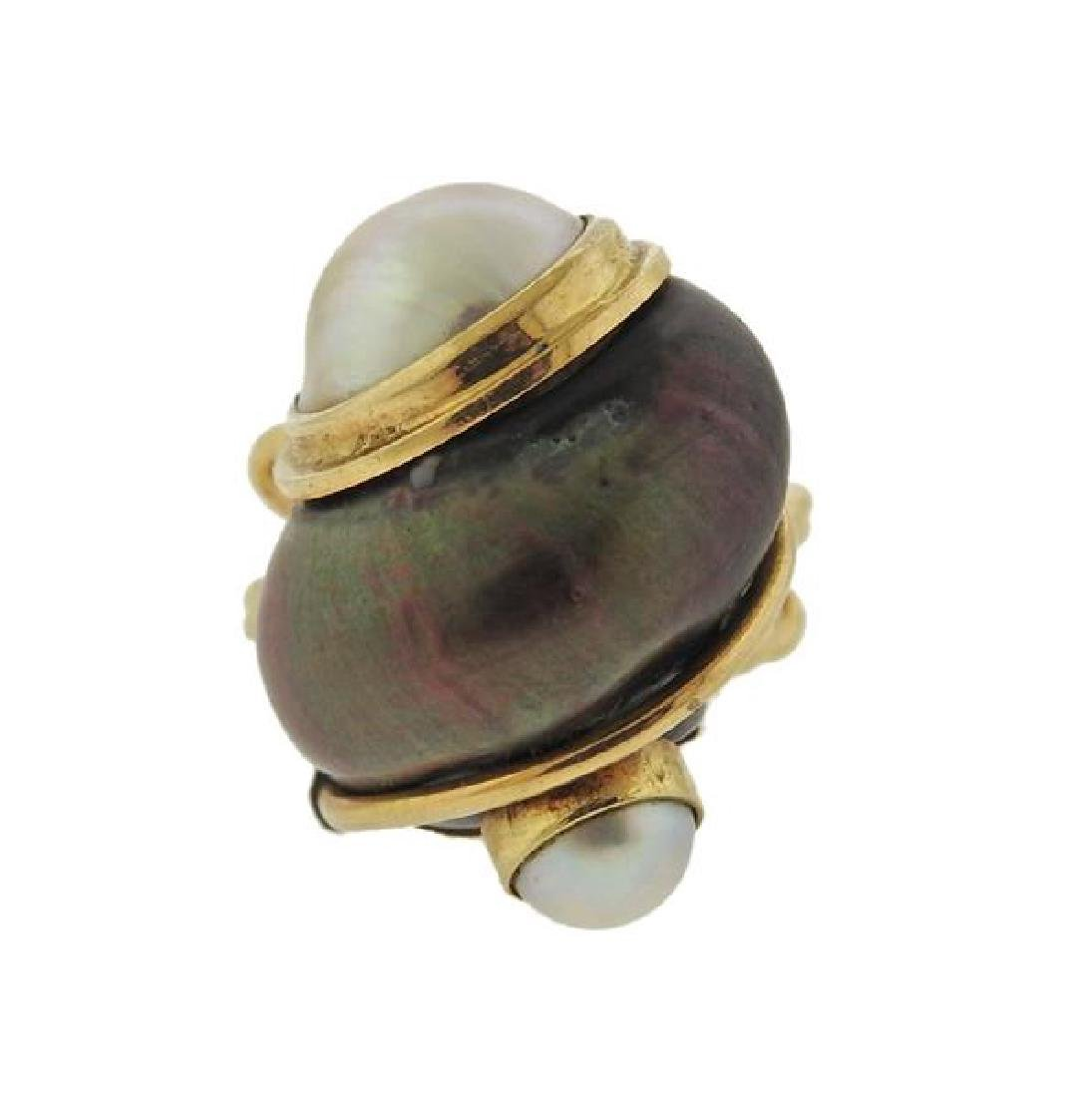 Seaman Schepps 14k Gold Shell Pearl Ring