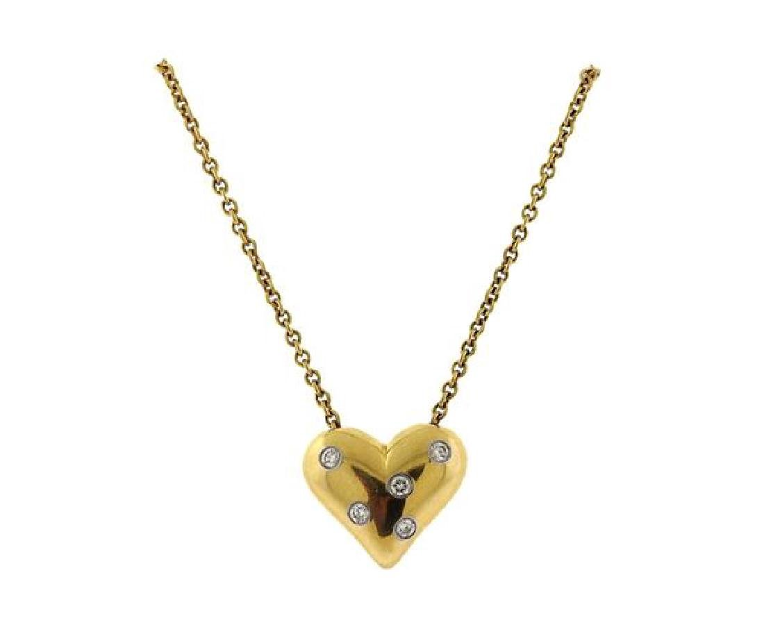 Tiffany & Co Etoile 18k Gold Platinum Heart Pendant