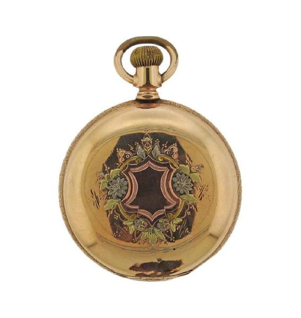 Elgin Four Color Gold Filled Train Pocket Watch