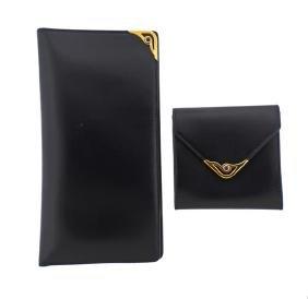Cartier Black Leather Coin Purse Wallet Set