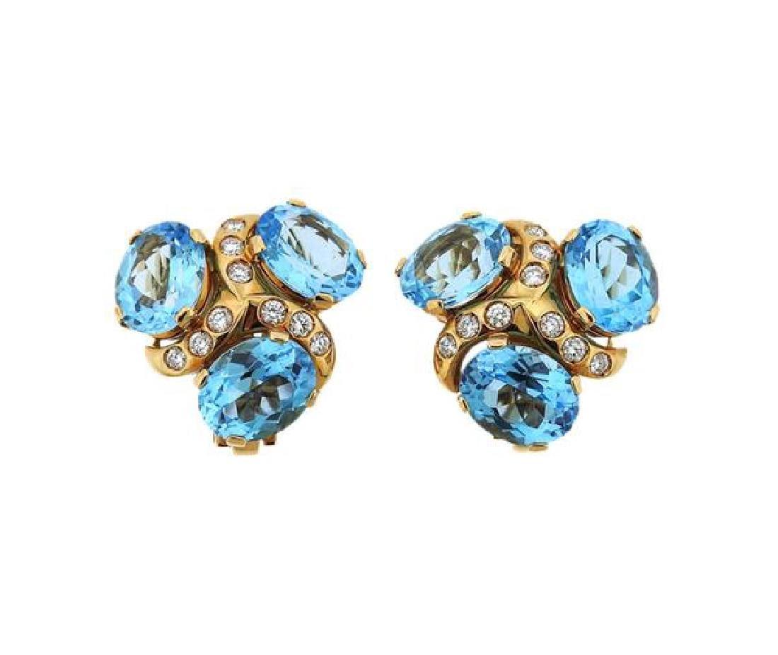 Verdura 18K Gold Diamond Blue Topaz Earrings