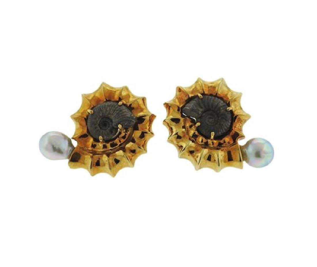 Elizabeth Gage 18k Gold Pearl Fossil Earrings